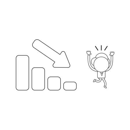 Vector illustration concept of businessman character running away fom sales bar graph moving down. Black outline.