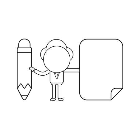 Vector illustration concept of businessman character holding pencil and blank paper. Black outline. 矢量图像