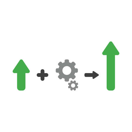 Vector illustration icon concept of arrow plus gears and moving up.