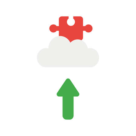 Vector illustration icon concept of missing jigsaw puzzle piece on cloud with arrow moving up. Illustration
