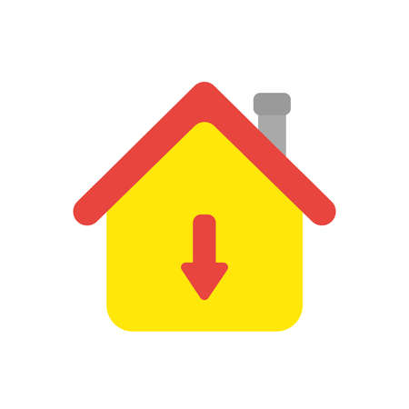 Vector illustration icon concept of house with arrow moving down.
