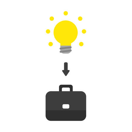 Vector illustration icon concept of glowing light bulb inside briefcase. Иллюстрация