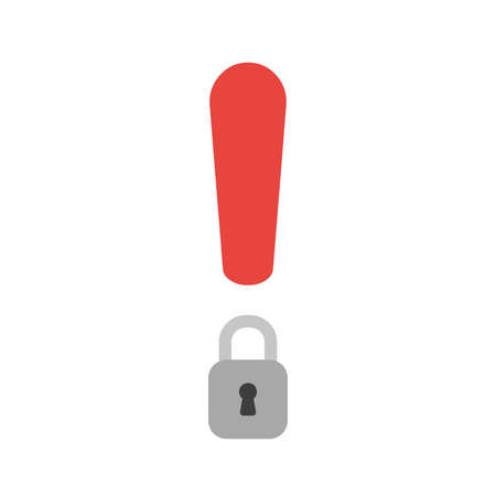 Vector illustration icon concept of exclamation mark with closed padlock. Ilustração