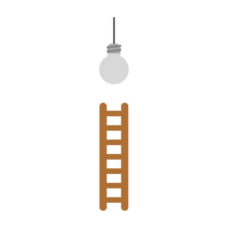 Vector illustration icon concept of reach grey light bulb with ladder.
