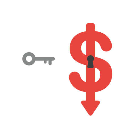 Vector illustration icon concept of key and dollar symbol with keyhole moving down.