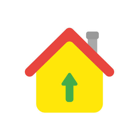 Vector illustration icon concept of house with arrow moving up.