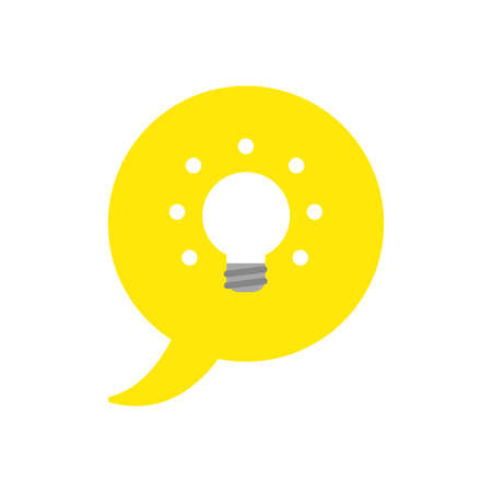 Vector illustration icon concept of speech bubble with glowing light bulb.