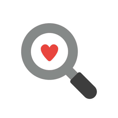 Vector illustration icon concept of heart inside magnifying glass.