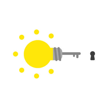 Vector illustration icon concept of glowing light bulb key with keyhole.