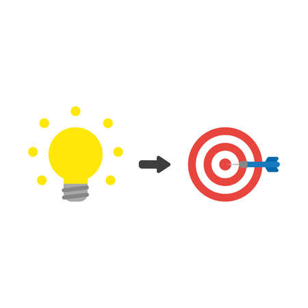 Vector illustration icon concept of glowing light bulb with bulls eye and dart in teh center. Ilustração