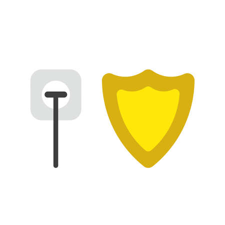 Vector illustration icon concept of plug plugged into outlet with guard shield.