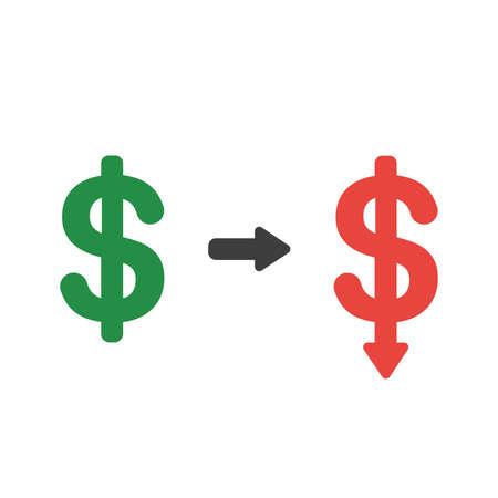 Vector illustration icon concept of dollar symbol arrow moving down. Stock Illustratie