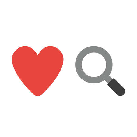 Vector illustration icon concept of heart with magnifying glass.