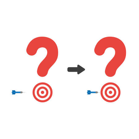 Vector illustration icon concept of question mark with bulls eye and dart miss the target.