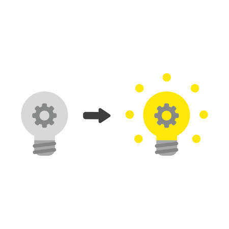 Vector illustration icon concept of gear inside grey light bulb and glowing. Ilustração