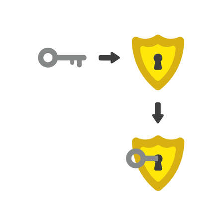 Vector illustration icon concept of guard shield with key into keyhole.