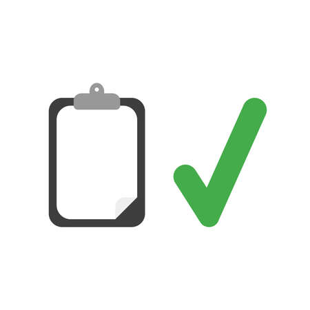 Vector illustration icon concept of clipboard with blank paper and check mark. Ilustração