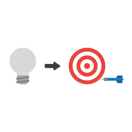 Vector illustration icon concept of grey light bulb with bulls eye and dart miss the target.