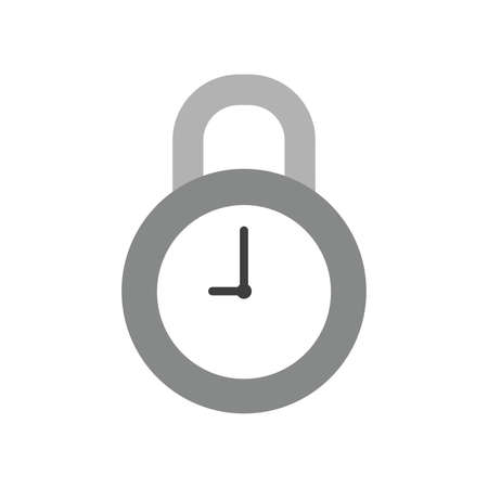Vector illustration icon concept of closed clock padlock.