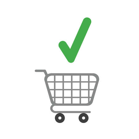 Vector illustration icon concept of shopping cart with check mark.