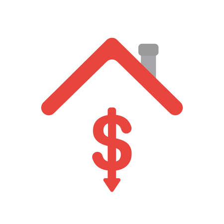 Vector illustration icon concept of dollar symbol arrow moving down under house roof.