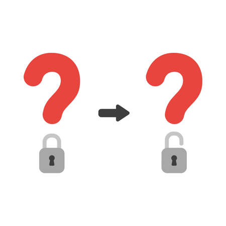Vector illustration icon concept of question mark with closed and open padlock.