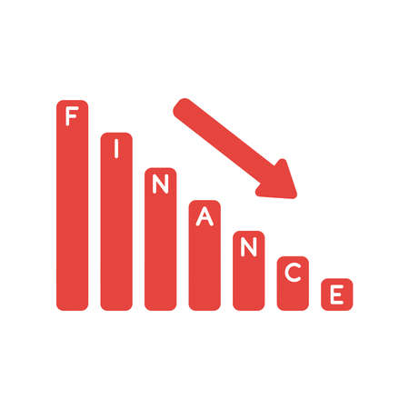 Vector illustration icon concept of finance sales bar graph moving down. Stock Illustratie