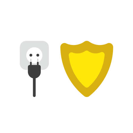 Vector illustration icon concept of plug and outlet with guard shield.