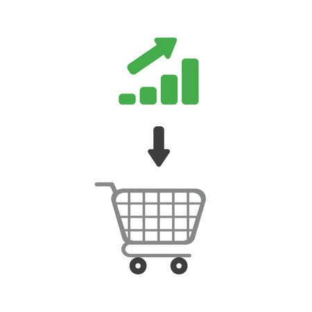 Vector illustration icon concept of shopping cart with bar graph moving up.
