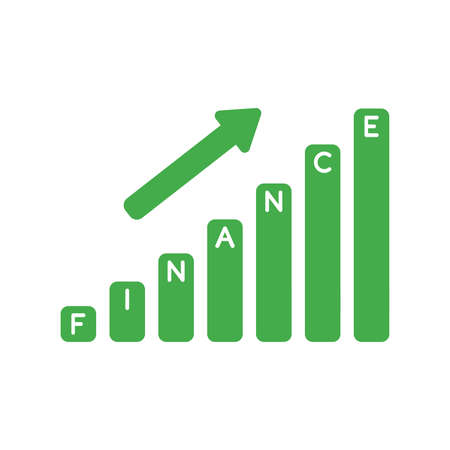 Vector illustration icon concept of finance sales bar graph moving up.