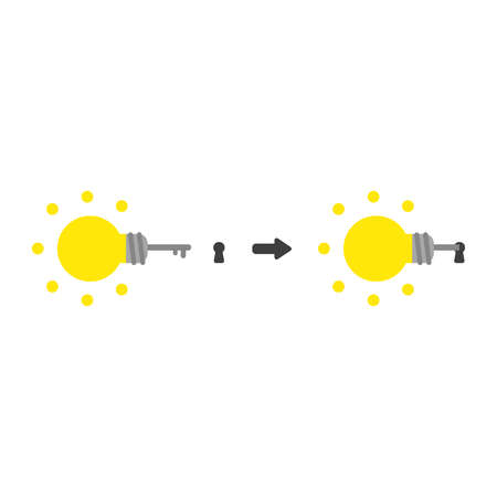 Vector illustration icon concept of glowing light bulb key into keyhole. Stock Illustratie