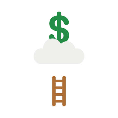 Vector illustration icon concept of dollar symbol on cloud with short wooden ladder.