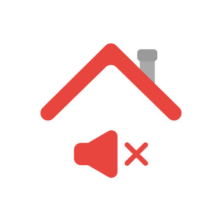 Vector illustration icon concept of sound off symbol under house roof.