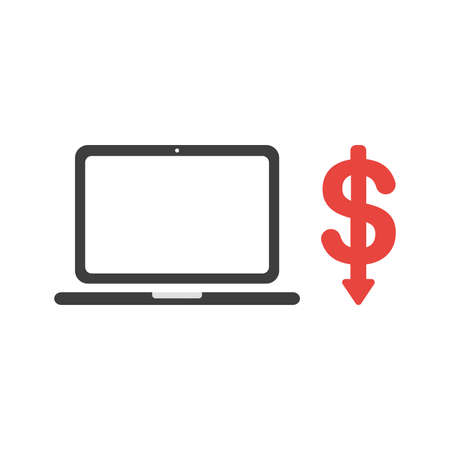Vector illustration icon concept of laptop computer with dollar symbol arrow moving down.
