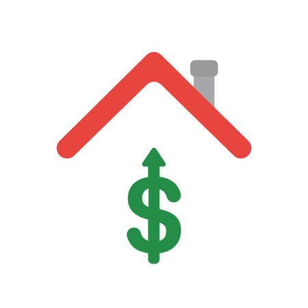 Vector illustration icon concept of dollar symbol arrow moving up under house roof.