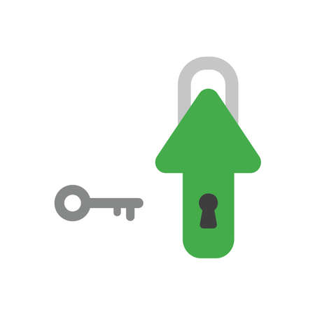 Vector illustration icon concept of arrow padlock with keyhole and key.