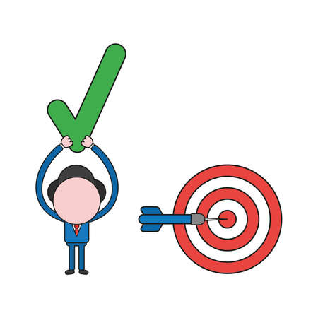 Vector illustration concept of businessman character with bulls eye with dart in the center and holding up check mark. Color and black outlines.