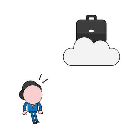 Concept d'illustration vectorielle de personnage d'homme d'affaires à la recherche d'une mallette sur le cloud. Couleurs et contours noirs.