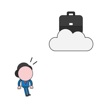 Vector illustration concept of businessman character looking briefcase on cloud. Color and black outlines.
