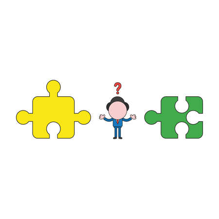 Vector illustration concept of confused businessman character between incompatible puzzle pieces. Color and black outlines. Illustration