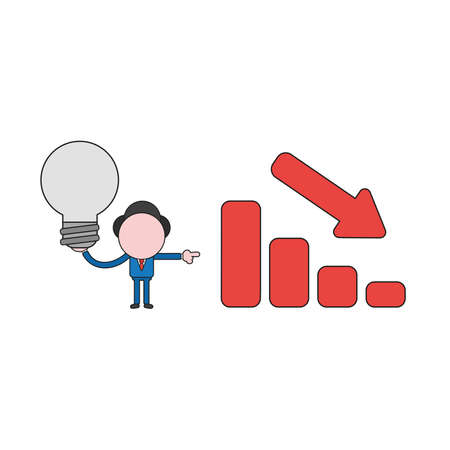 Vector illustration concept of businessman character holding light bulb and showing sales bar graph moving down. Color and black outlines.