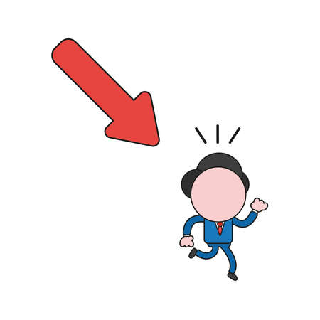 Vector illustration concept of businessman character running away from arrow moving down. Color and black outlines.