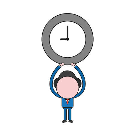 Vector illustration concept of businessman character holding up clock. Color and black outlines. Иллюстрация