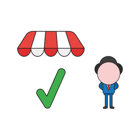 Vector illustration concept of businessman character with check mark under store awning. Color and black outlines. Vectores