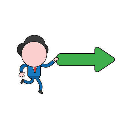 Vector illustration concept of businessman character running and holding arrow pointing right. Color and black outlines. Vettoriali
