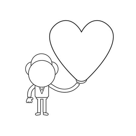 Vector illustration concept of businessman character holding heart. Black outline.