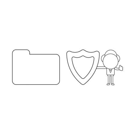 Vector illustration concept of businessman character with closed file folder, holding guard shield and giving thumbs-up. Black outline.