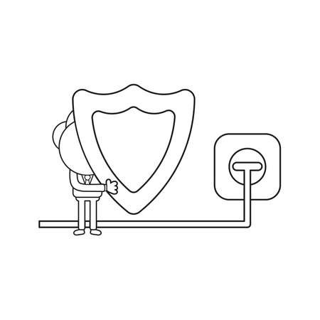 Vector illustration concept of businessman character holding guard shield ang plug plugged into outlet. Black outline.