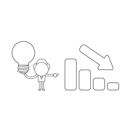 Vector illustration concept of businessman character holding light bulb and showing sales bar graph moving down. Black outline. Ilustração