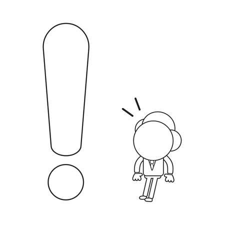 Vector illustration concept of businessman character surprised at big exclamation mark. Black outline. Ilustrace